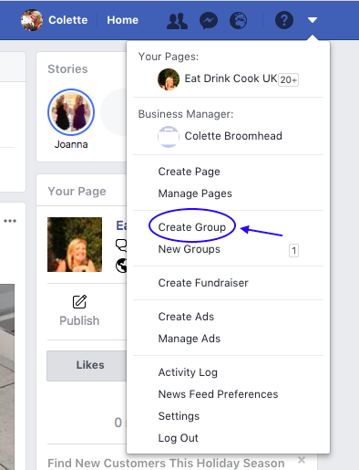 how to create a fb group page